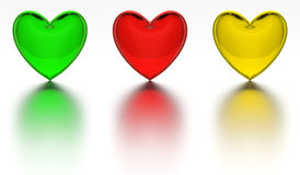 Crystal heart colored glass hearts isolated Royalty Free Stock Image