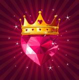 Crystal heart with crown on radial background Stock Photography