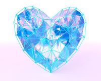 Crystal heart in low poly style with corored light. Abstract crystal heart in low poly style with colored light on the dark blue background for Happy Valentine` Royalty Free Stock Image