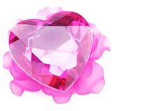 Crystal heart with pink flower ornament Stock Images