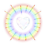 Crystal Heart Rainbow Stock Images