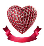 Crystal heart  and ribbon Valentine's day clipart Stock Photos