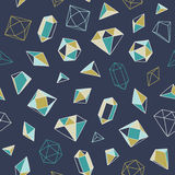 Crystal heart - seamless pattern. Hand-drawn vector seamless pattern with crystals and gems stock illustration