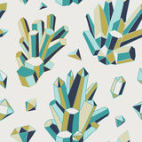 Crystal heart - seamless pattern. Hand-drawn vector seamless pattern with crystals and gems vector illustration
