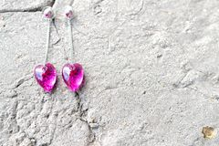 Crystal heart shaped earrings Stock Photography