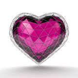 Crystal heart in silver grid on white background. Valentine`s day background. 3d render illustration Stock Photo