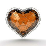 Crystal heart in silver grid on white background. Valentine`s day background. 3d render illustration Stock Photography