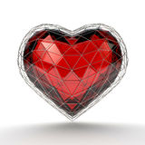 Crystal heart in silver grid on white background. Valentine`s day background. 3d render illustration Stock Images