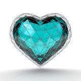 Crystal heart in silver grid on white background. Valentine`s day background. 3d render illustration Stock Photos