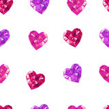 Crystal hearts white pattern Royalty Free Stock Photography