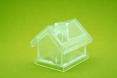 Crystal house. On green background Stock Photo