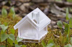 Crystal house over moss. In the forest Royalty Free Stock Photo