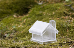 Crystal house over moss Royalty Free Stock Images