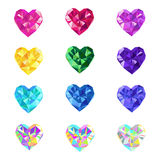 Crystal jewel vector hearts royalty free illustration
