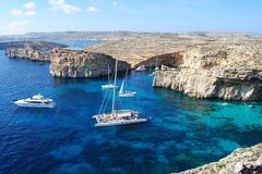 The Crystal Lagoon on Comino island Royalty Free Stock Photos