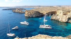 The Crystal Lagoon on Comino island Royalty Free Stock Images