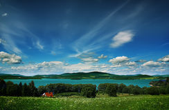 Crystal lake. Blue lake in the center of beauty landscape Royalty Free Stock Photos