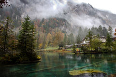 Crystal lake of Blausee stock images