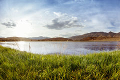 Crystal lake and grass on the montains backgroud. Altay Stock Photography