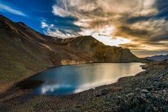 Crystal Lake på solnedgången Ophir Pass Colorado Fotografering för Bildbyråer