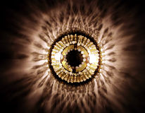 Crystal lamp. Blowing in the dark stock photography