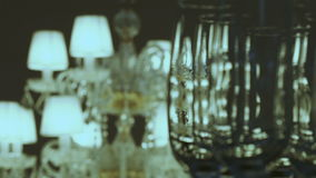 Crystal lamp and glasses stock video footage