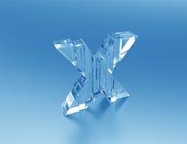 Crystal Letter X-quebrou o vidro Imagem de Stock