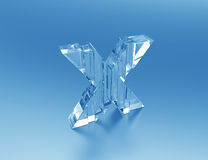 Crystal Letter X-shattered glass Stock Image