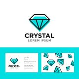 Crystal logo. Faceted stone emblem. Azure color. Identity. Pattern and business card Stock Photo