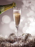 Crystal luxury champagne glass with champagne bottle Royalty Free Stock Photos