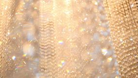 Crystal luxury fashion chandelier with bling shining reflection stock footage