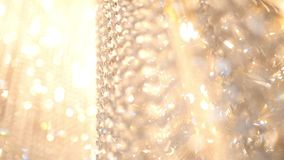 Crystal luxury fashion chandelier with bling shining reflection, macro stock footage