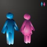 crystal male kvinnligsymboler Arkivfoto