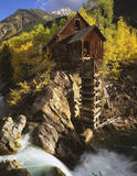 Crystal Mill. Old silver mill on the rivers edge in the forest stock photos