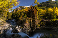 Crystal Mill Bright Starry Night Gunnison Colorado. Crystal Mill lid by a Moonlight with starry sky above, peak of the fall Gunnison Colorado Stock Photography