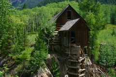 Crystal Mill sits in a remote mountain canyon near Marble, Colorado stock images