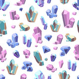 Crystal Minerals Seamless Pattern Photos libres de droits