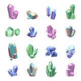Crystal Minerals Set. Crystal minerals and quartz glass icons set isolated vector illustration Stock Photography