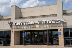 Crystal, Minnesota -Exterior of an Anytime Fitness gym and fitness center, located in a strip mall