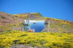 Crystal mirror observatory. Roque de los Muchachos observatories at La Palma Canary Islands Spain Stock Photography