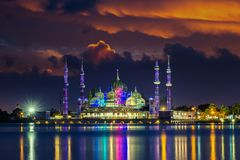 Crystal mosque. On sunset in malaysia Royalty Free Stock Photography