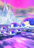 Crystal Mountains. A colorful illustration with an abstract design of crystal mountains behind sea with bubbles Stock Illustration