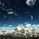 Crystal night. Mountain's top in a limpid night royalty free illustration