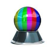 Crystal ok för begrepp - fel på televisionskärmen - färgstänger över vit bakgrund - mall för formgivare stock illustrationer