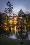 Crystal palace in Buen Retiro park, Madrid stock images