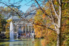 Crystal Palace, Buen Retiro Park. Madrid, Spain. Autumnal view of the Crystal Palace in the Buen Retiro Park. Madrid, Spain Stock Photography