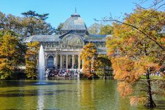 Crystal Palace, Buen Retiro Park. Madrid, Spain. Autumnal view of the Crystal Palace in the Buen Retiro Park. Madrid, Spain Stock Image