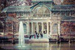 Crystal Palace (cristal Palacio de) i Retiro parkerar, Madrid, Spanien Royaltyfria Bilder
