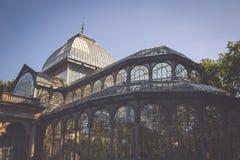 Crystal Palace (cristal Palacio de) i Retiro parkerar, Madrid, Spanien Royaltyfri Fotografi