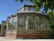 Crystal Palace Madrid. Back shot of the Palacio de Cristal located inside Parque del Retiro public park in Madrid, Spain Stock Photo